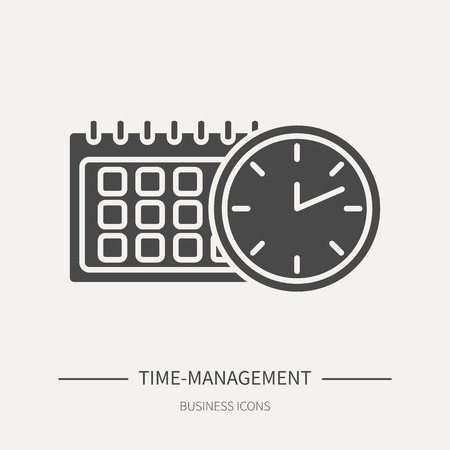 Time-management - business icon in flat style. Graphic design elements for ad, apps, website,packaging, poster or brochure. Vector illustration