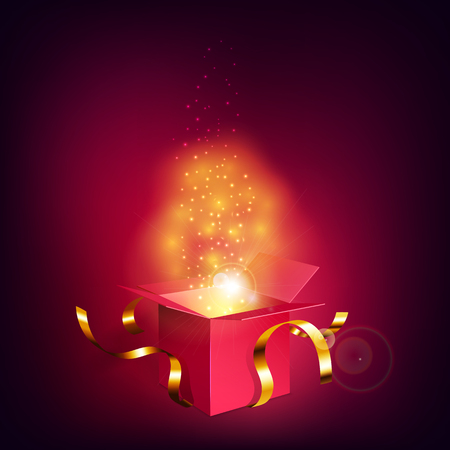 Opened red gift box with golden ribbons with magic light fireworks on dark background. Glowing cloud flying out of the box. Concept of magic. Vector illustration Vektorové ilustrace