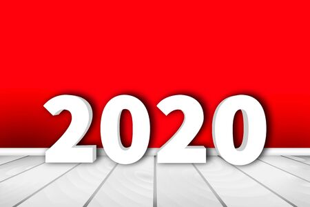 2020 - Happy New Year. 3d White Numbers on the White Floor and on Red Wall Background with Baseboard and place for Copy Space. Vector Illustration of Holiday