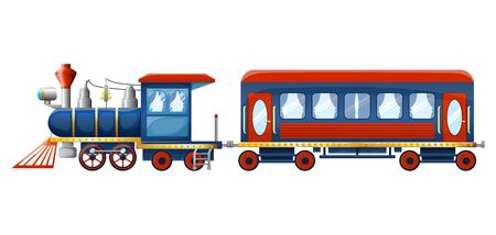Train composition from cute cartoon colored retro steam locomotive and passenger rail car isolated on white background. Vector illustration Archivio Fotografico - 137367891
