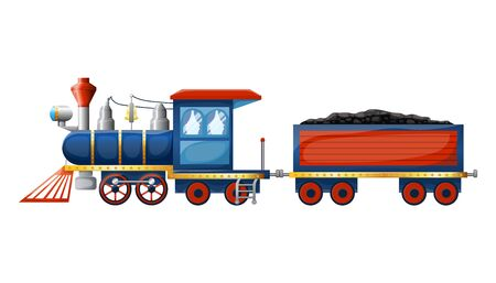Train composition from cute cartoon colored retro steam locomotive and wagon with coal isolated on white background. Vector illustration Векторная Иллюстрация