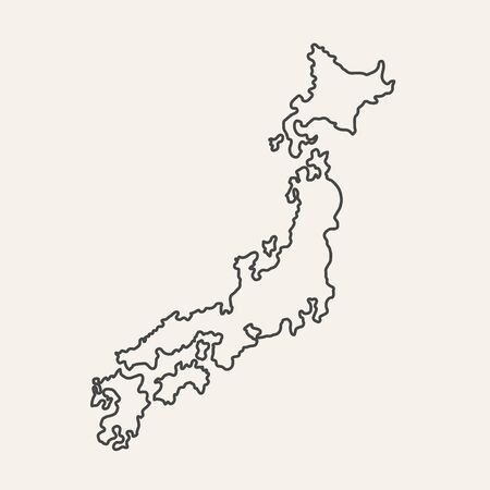 Thin outline map of Japan islands isolated on white background. Vector illustration