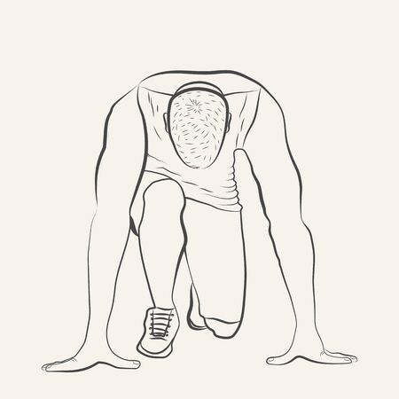 Runner at the start. Athlete on the position and ready to start. Hand drawn sketch isolated on white background. Good for illustrating the concept of sports, startup, business. Vector illustration Иллюстрация
