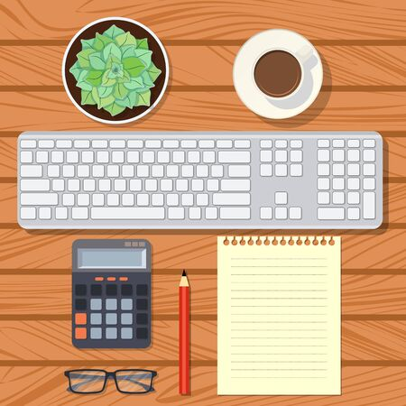Top view on a wooden desk with keyboard, paper, pencil, calculator, glasses, cup of coffee and succulent in pot. Flat lay of office table. Order on workplace. Preparing for work. Vector illustration