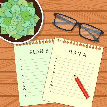 Plan A, plan B. Concepto de planificación. Planificación de hojas sobre una mesa de madera con vasos y una olla de suculentas vista superior. Ilustración vectorial