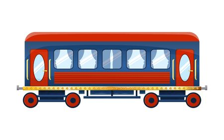 Cute cartoon retro passenger rail car isolated on white background. Comfortable wagon - element to illustrate the journey by train. Vector illustration