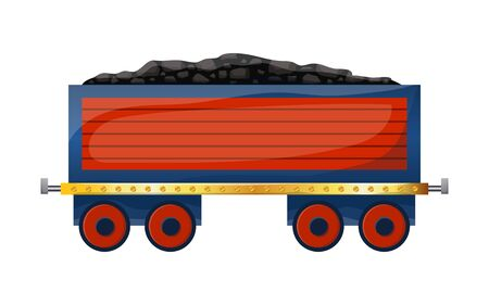 Cute cartoon wagon with coal. Colored trolley isolated on white background. Vector illustration