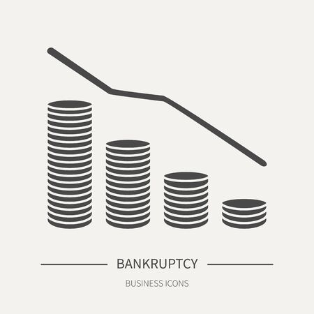 Bankruptcy - business icon in flat style. Graphic design elements for ad, apps, website, packaging, poster or brochure. Vector illustration