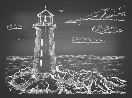 Sketch of a sea landscape with a lighthouse on a cliff on chalkboard. Hand drawn sketch in vintage engraving style. Vector illustration