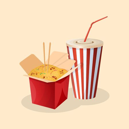 Box of wok noodles and soda in a paper cup - cute cartoon colored picture. Graphic design elements for menu, poster, ad. Vector illustration of fast food for bistro, snackbar, cafe or restaurant Ilustração