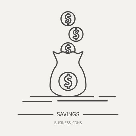 Money bag, savings concept - business icon in flat thin line style. Graphic design elements for ad, apps, website, packaging, poster or brochure. Vector illustration