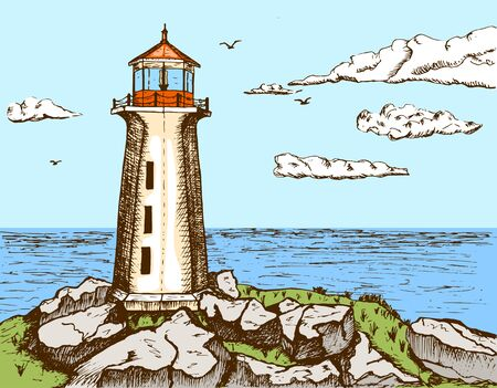 Sketch of a sea landscape with a lighthouse on a cliff. Calm at sea, in the sky seagulls and clouds. color sketch in vintage engraving style. Vector illustration of landscape Vektorgrafik