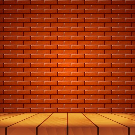 Wooden realistic table for presentations your product on a brick red wall background. 3d vector illustration