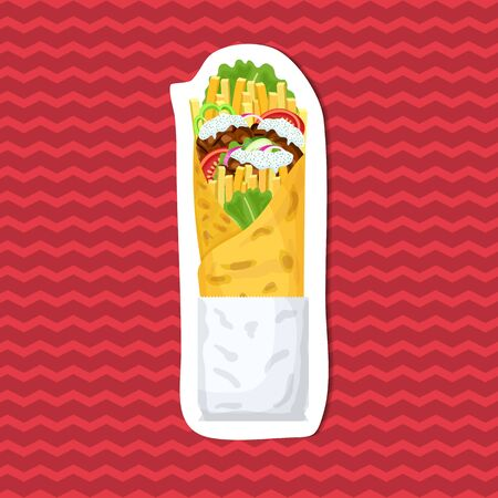 Delicious gyros sticker on red striped background. Graphic design elements for menu, advertising, poster, brochure or background. Vector illustration of fast food