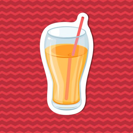 Fresh orange juice in a glass with a straw - sticker on red striped background. Graphic design elements for menu, advertising, poster or packaging. Vector illustration of beverage