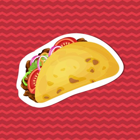 Taco sticker on red striped background. Graphic design elements for menu, packaging, advertising, poster, brochure or background. Vector illustration of fast food Stok Fotoğraf - 140184319