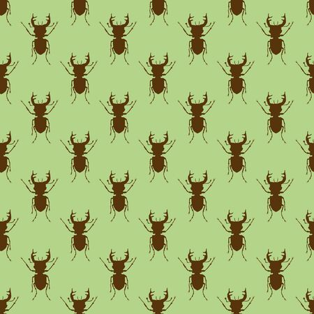 Seamless pattern with stag beetles on a green backdrop. Beetles on the background. Wallpaper with bugs. Insect vector illustration. Spring background  イラスト・ベクター素材