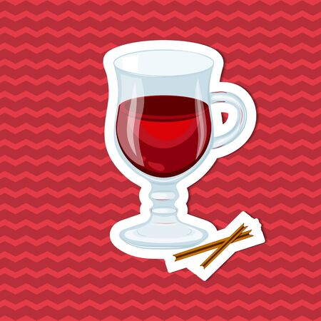 Cinnamon sticks and mulled wine sticker on red striped background. Graphic design elements for menu, packaging, ad, poster, brochure. Vector illustration of fast food for bistro, snack bar, cafe