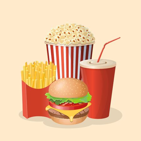 Burger with soda cup, popcorn and french fries - cute cartoon colored picture. Graphic design elements for menu, poster, brochure. Vector illustration of fast food for snackbar, cafe or restaurant