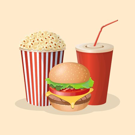 Burger with soda cup and popcorn - cute cartoon colored picture. Graphic design elements for menu, poster, brochure. Vector illustration of fast food for snackbar, bistro, cafe or restaurant