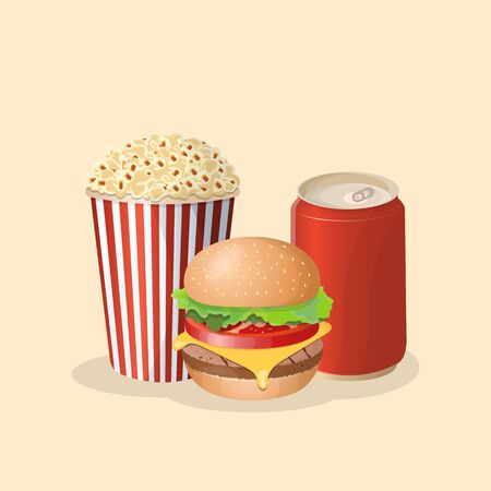 Burger with soda in a tin can and popcorn - cute cartoon colored picture. Graphic design elements for menu, poster, brochure. Vector illustration of fast food for snackbar, cafe or restaurant
