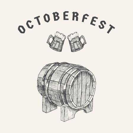 Octoberfest - greeting card with wooden barrel of beer. Hand drawn sketch in vintage engraving style. Graphic design elements for poster, ad, packaging. Vector illustration for bar, restaurant 矢量图像