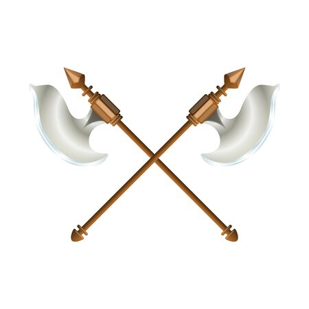 Crossed battle axes weapon of warrior. Colorful graphic design element for game and app. Vector Illustration