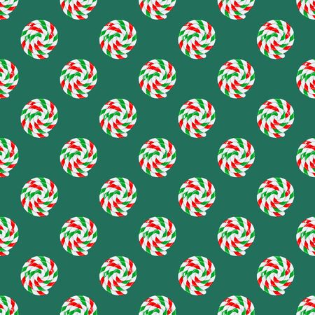 Seamless pattern of sweet Christmas candy lollipop with red, green and white strips on green background. Graphic element for greeting card on New Year and Christmas. Vector illustration
