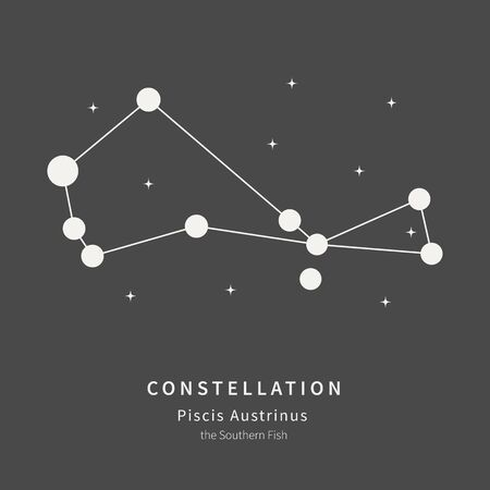 The Constellation Of Piscis Austrinus. The Southern Fish - linear icon. Vector illustration of the concept of astronomy