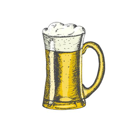 Colored glass mug with beer and beer foam overflowing over the edge isolated on white background. Hand drawn sketch in vintage engraving style. Alcohol Drink. Vector illustration for Oktoberfest