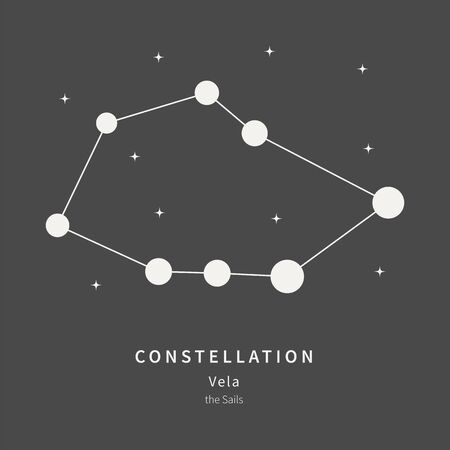The Constellation Of Vela. The Sails - linear icon. Vector illustration of the concept of astronomy