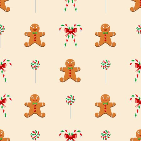 Christmas sweets seamless pattern cute gingerbread man, candy canes and lollipops. Good for greeting card, packing or background for New Year and Christmas. Vector illustration