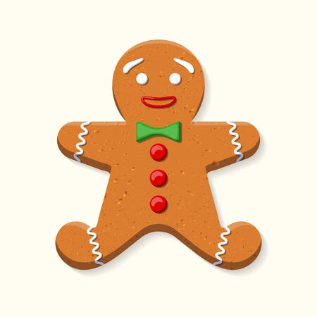 Cute sweet gingerbread man with green bow tie and red buttons made of icing isolated on white background. Graphic element for greeting card on New Year and Christmas. Vector illustration