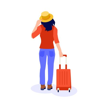 Traveller girl with a red suitcase in jeanse and yellow hat. Concept of independent woman travel. Vector illustration