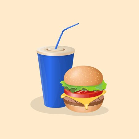 Burger and blue soda cup - cute cartoon colored picture. Graphic design elements for menu, poster, brochure. Vector illustration of fast food for bistro, snackbar, cafe or restaurant Banco de Imagens - 139926015