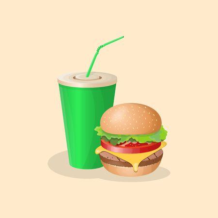 Burger and green soda cup - cute cartoon colored picture. Graphic design elements for menu, poster, brochure. Vector illustration of fast food for bistro, snackbar, cafe or restaurant Ilustração