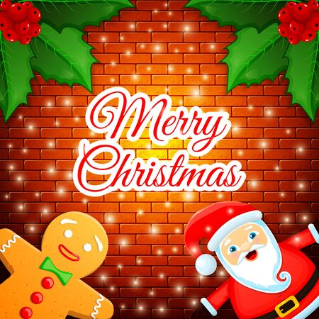 Merry Christmas - cute greeting card with cartoon Santa Claus, gingerbread man and leaves of Holly berries on a brick wall background and falling snow. Vector illustration