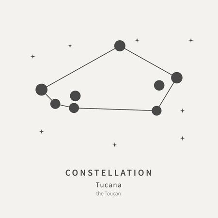 The Constellation of the Toucan in the night starry sky. Vector illustration of the concept of astronomy 矢量图像