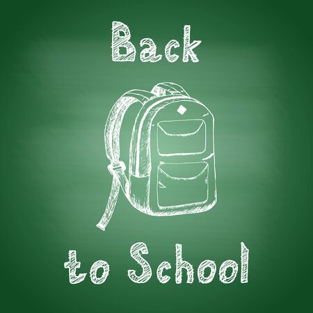 Back to school - chalk drawing of a school backpack on a green school board. Back to school concept. Design element for flyer or banner. Hand drawn sketch. Vector illustration