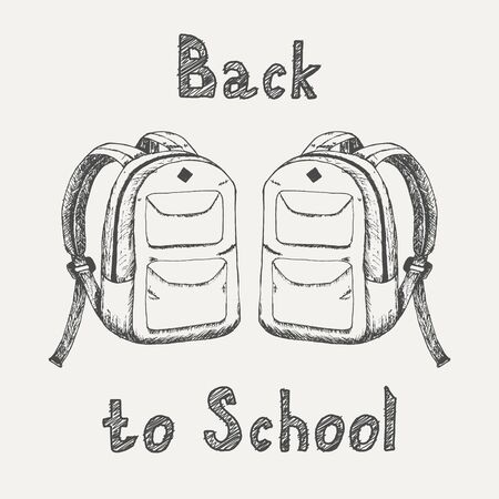 Back to school - inscription and two school backpacks sketch isolated on white background. Hand drawn sketch in vintage engraving style. School supplies. Vector illustration for back to school