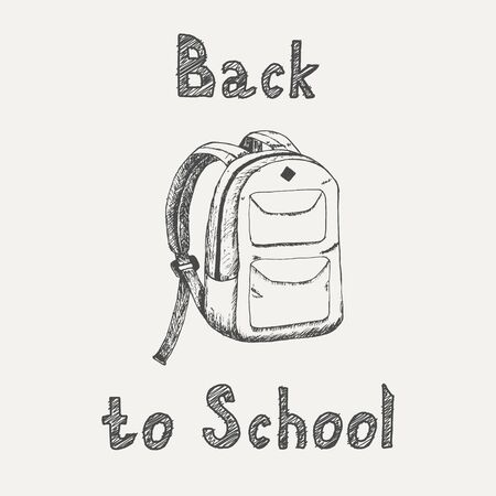 Back to school - inscription and school backpack sketch isolated on white background. Hand drawn sketch in vintage engraving style. School supplies. Vector illustration for back to school