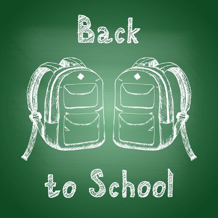 Back to school - chalk drawing of two school backpacks on a green school board. Back to school concept. Design element for flyer or banner. Hand drawn sketch. Vector illustration 矢量图像