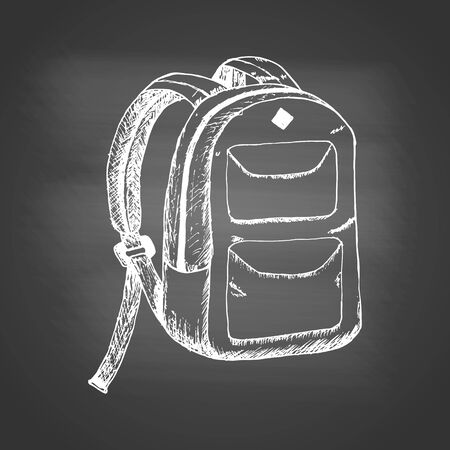 Chalk drawing of a school backpack on a black school board. Back to school concept. Design element for flyer or banner. Hand drawn sketch. Vector illustration Ilustracja