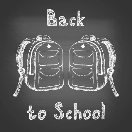 Back to school - chalk drawing of two school backpacks on a black school board. Back to school concept. Design element for flyer or banner. Hand drawn sketch. Vector illustration