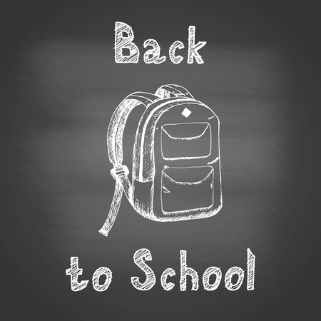 Back to school - chalk drawing of a school backpack on a dark school board. Back to school concept. Design element for flyer or banner. Hand drawn sketch. Vector illustration 矢量图像