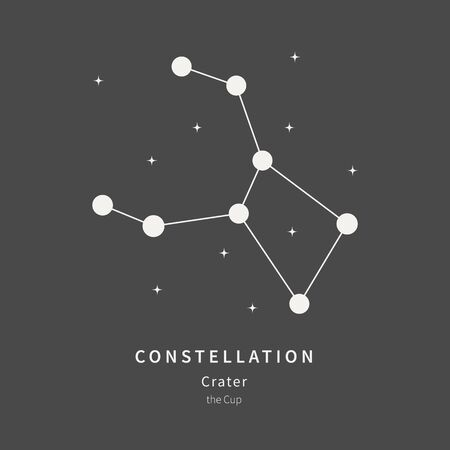 The Constellation Of Crater. The Cup - linear icon. Vector illustration of the concept of astronomy Illustration