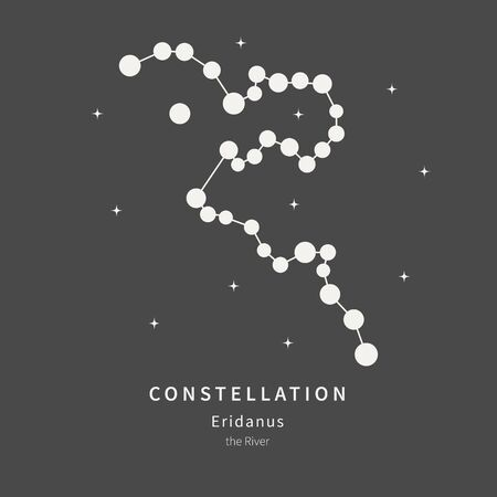 The Constellation Of Eridanus. The River - linear icon. Vector illustration of the concept of astronomy