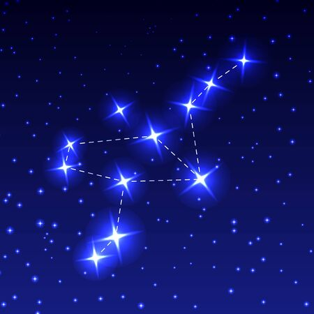 The Constellation Of The Crane in the night starry sky. Vector illustration of the concept of astronomy