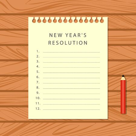 The notebook sheet with a list of new year's resolutions and a red pencil on a wooden table. Top view. Vector illustration