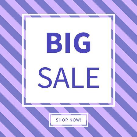 Big sale and shop now poster or banner. Vector illustration 矢量图像
